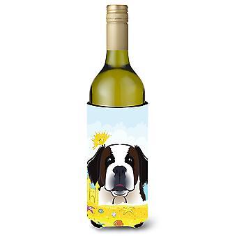 """سانت برنارد الصيف الشاطئ زجاجة النبيذ المشروبات """"نعالها عازل"""""""