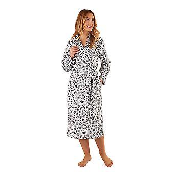 Slenderella HC8312 nők ' s szürke állat print Robe hosszú ujjú öltöző ruha