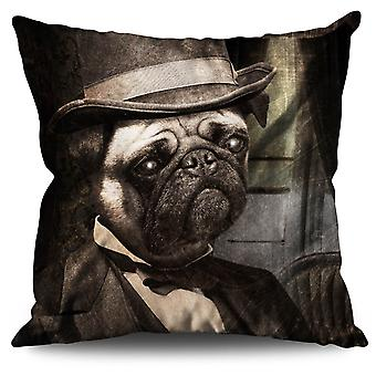 Sir Pug Cute Funny Dog Linen Cushion 30cm x 30cm | Wellcoda