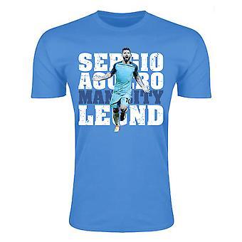 Sergio Aguero homem cidade lenda t-shirt (céu azul)