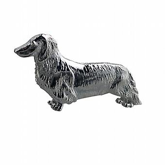 Silver 11x39mm long haired Daschund Brooch