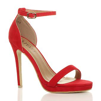 Ajvani womens high heel peep toe barely there ankle strap buckle sandals