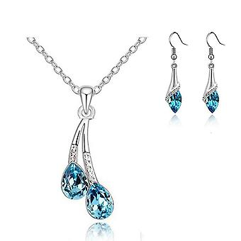 Sky Blue Womens Pendant Necklace And Drop Earrings Set  BGCW0064