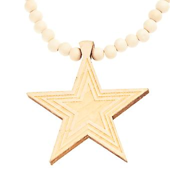 Wood Style Bead Kette - SUPERSTAR beige