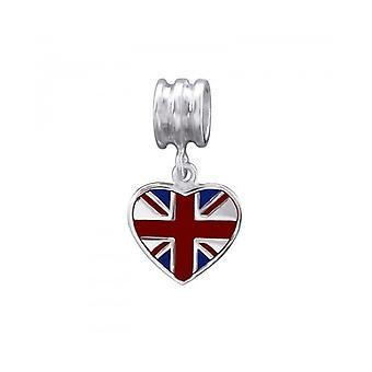 Union Jack Wear Union Jack Heart Silver Charm Bead
