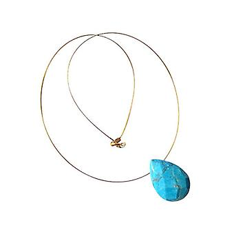 Gemshine Women's Pendant Necklace Gold plated Turquoise Drop Faceted Blue