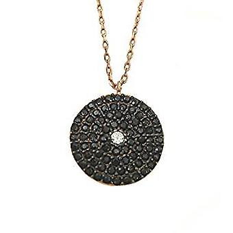 Black pave disc necklace 18ct rose gold plated silver disc
