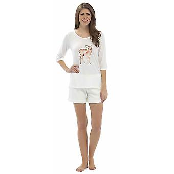 Senhoras, lobo & Harte Animal impresso Top & velo Shorts do pijama conjunto Lounge Wear