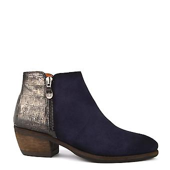 Kanna Borba Blue Suede Ankle Boot