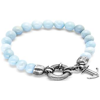 Anchor and Crew Port Silver and Amazonite Stone Bracelet - Turquoise/Silver