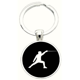Bassin and Brown Fencing Keyring - Black/White