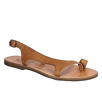 Tan leather thong sandals for women Handmade in Italy