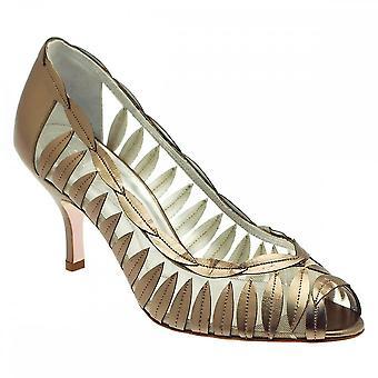 Magrit Leather Leaf Detail Peep Toe Court Shoe