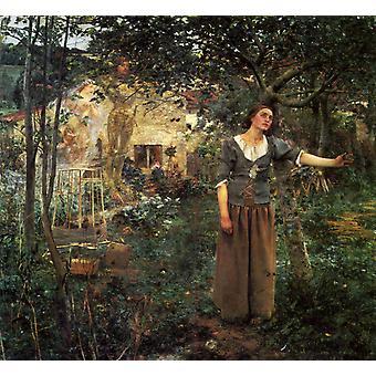 Jeanne d Arc ecoutant Les Voix, John William Waterhouse, 50x50cm