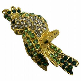 Wunderschöne attraktive Vogel Brosche Peridot Kristalle funkeln Shine Brosche