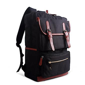 Backpack with faux leather details-black