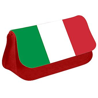 Italy Flag Printed Design Pencil Case for Stationary/Cosmetic - 0083 (Red) by i-Tronixs