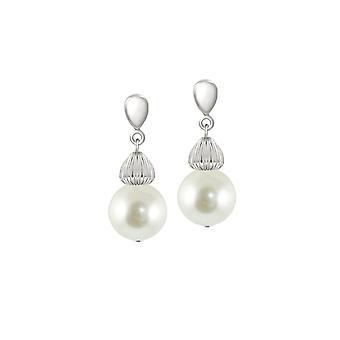 Eeuwige collectie Solitaire witte parel zilver Toon Drop doorstoken oorbellen