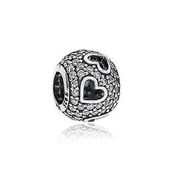 Pandora tumbling Herzen Silber & klar CZ Charme 791426CZ