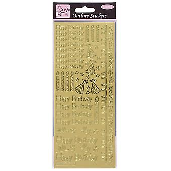 Anita's Happy Birthday Outline Stickers - Gold