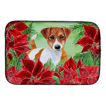 Carolines trésors CK1337DDM Jack Russell Terrier poinsettias plat Mat de séchage