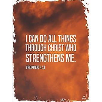 Philippiens 4:13 Affiche I Can Do All Things Bible Scripture Verse Citation Wall Art (18x24)