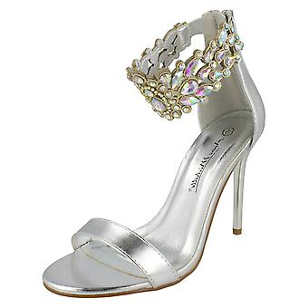 Ladies Anne Michelle Jewelled Ankle Strap Heeled Sandals F10862
