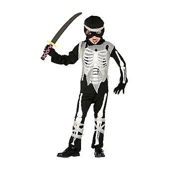 Boys Skeleton Ninja Halloween Fancy Dress Costume