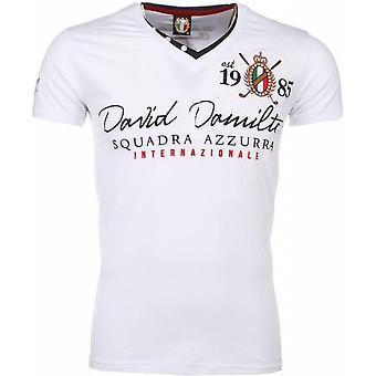 E T-shirt - Short Sleeves - Embroidery Squadra Azzura - White