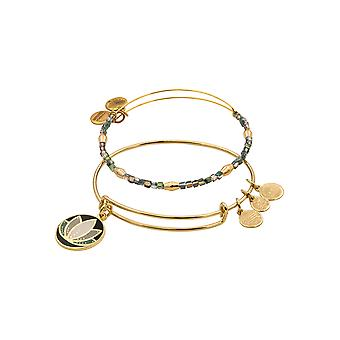 Alex and Ani Lotus Color Infusion Set of Two Bangle Bracelets - Shiny Gold