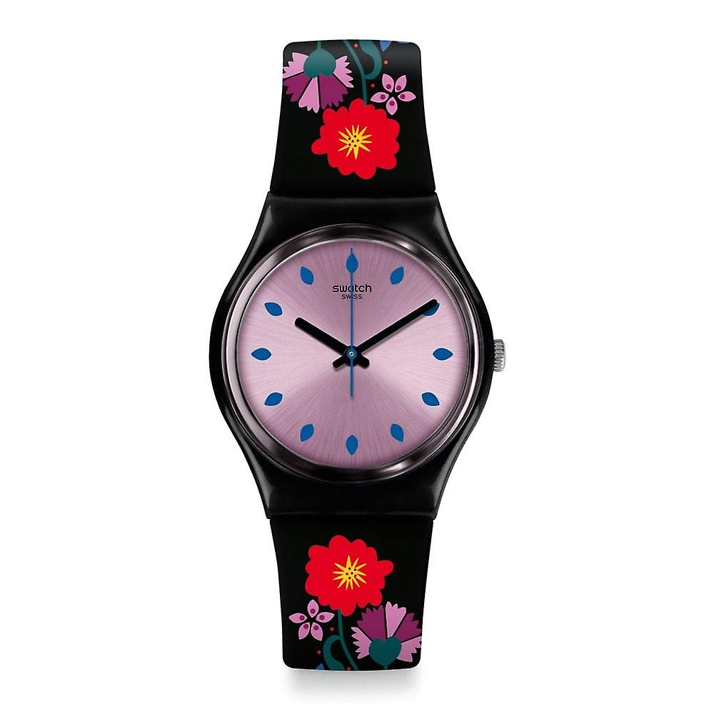 Swatch Gb319 Coquelicotte Purple & Black Floral Silicone Watch