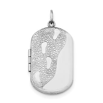 925 Sterling Silver Polished Patterned Holds 2 photos Footprints Rectangulaire Locket Jewelry Gifts for Women