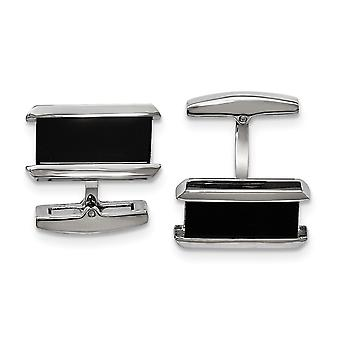 Stainless Steel Polished Black Ip plated Rectangle Cuff Links Jewelry Gifts for Men