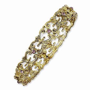Brass tone Light Purple Crystal Stretch Bracelet Jewelry Gifts for Women