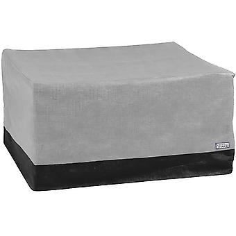 """Square Fire Pit Cover Outdoor Patio - 50""""L x 50""""W x 24""""H - Breathable Material, UV Protected, and Weather Resistant Storage Cover - Gray with Black Hem"""