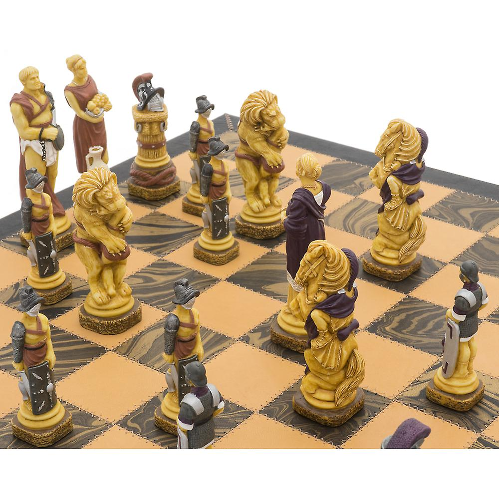 The Spartacus Italian Leather Luxury Chess Set