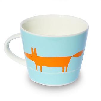 Scion Single Mr Fox Mug, Orange & Duck Egg Blue