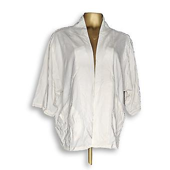 Anybody Women's Robes French Terry Open Front Ivory A349800