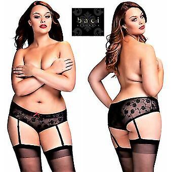 Baci lingerie [UK 18-24] koningin grootte ' stijl 3122 ' Black Rose Lace pure open