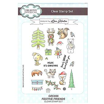 Creative Expressions Clear Stamp Set by Lisa Horton - Festive Friends