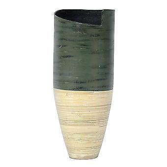 """9"""" X 9"""" X 20"""" Distressed Green & Natural Bamboo Bamboo Spun Bamboo Vase"""