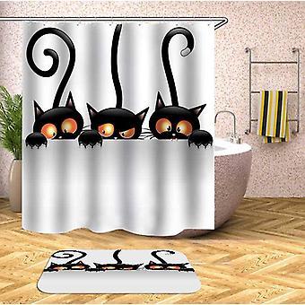 3つの不審な猫のシャワーカーテン