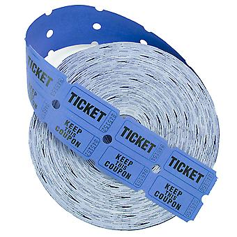 2000 ct Roll of Two Part Double Roll Tickets - Blue