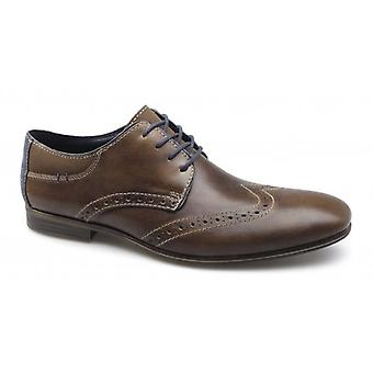 Rieker 11305-26 Herre læder lace-up brogue sko brun/blå