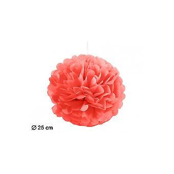 Party favoriserer Pompom lampion rød 25cm