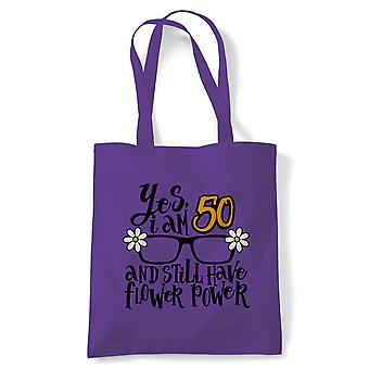 Flower Power 50 Tote | Happy Birthday Celebration Party Getting Older | Reusable Shopping Cotton Canvas Long Handled Natural Shopper Eco-Friendly Fashion