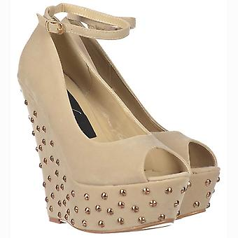 Onlineshoe Nude/beige Studded Suede Wedge Peep Toe Platform Shoes Ankle Strap - Nude/beige Studded