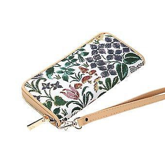 Voysey - spring flowers long zip rfid money purse by signare tapestry / lzip-spfl