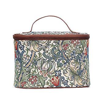 William Morris-gylden lilje makeup bag av signare billedvev/slit-glily