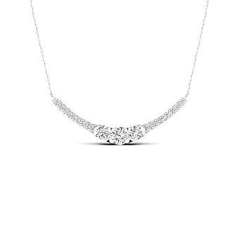 Igi مصدقة 10k الذهب الأبيض 0.50ct tdw الماس الطبيعي ثلاثة قلادة الحجر